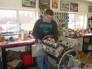Dave Amburgey has been with Steve Schmidt Racing for over 20 years and does a lot of the assembly work. He is also involved heavily in the Pro Stock develop-ment work. Dave also goes to the race track and helps our engine customers with their race program.